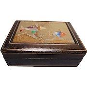 Vintage Italian Leather and Pietra Dura Box