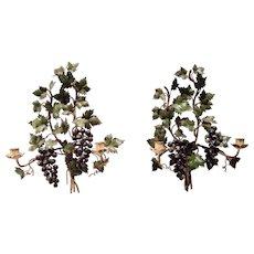 Vintage Painted Italian Iron Grape Sconces - A Pair