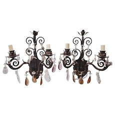 French Bronze & Crystal Wall Sconces - A Pair