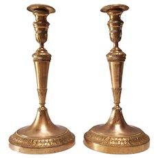 Pair of 19th C French Gilt Bronze Candlesticks