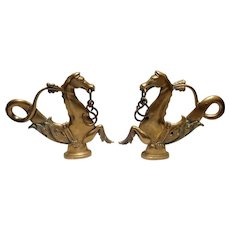 Pair of 19th C Brass Venetian Gondola Cavallis or Sea Horses