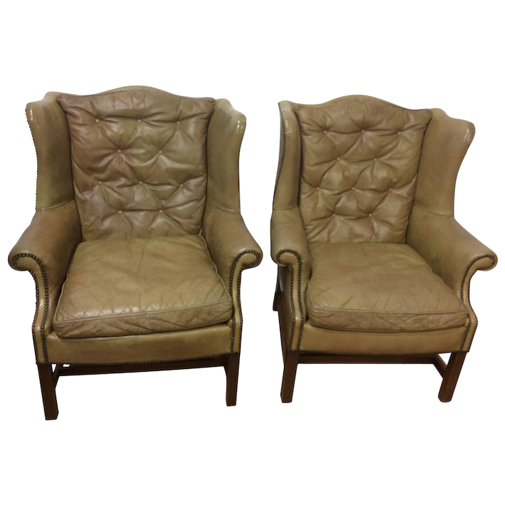 Outstanding Leather Wingback Chairs A Pair Short Links Chair Design For Home Short Linksinfo