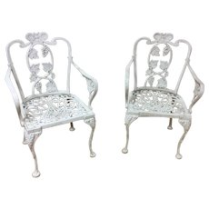 Pair of Cast Aluminum Garden Chairs