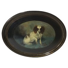 19th Century Papier Maché Oval Tray of a Cavalier King Charles Spaniel