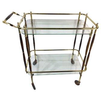 Brass and Wood Bar Cart