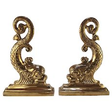 Brass Dolphin Andirons