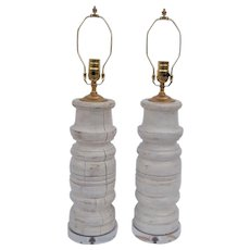 Pair of Painted Architectural Baluster Form Column Lamps