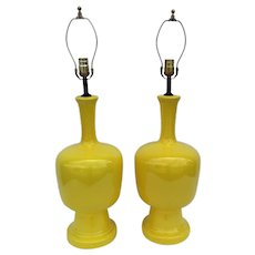 Pair Yellow of Mid-Century Modern Lamps