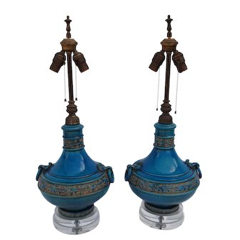 Pair of Mid-Century Turquoise Glazed Lamps