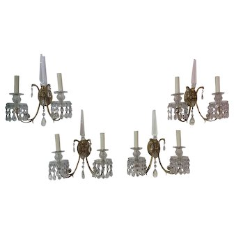 Set of Four French Bronze and Crystal Wall Sconces