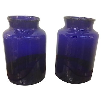 Pair of French Cobalt Blue Apothecary Jars