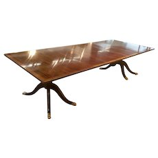 19th C English Mahogany and Satinwood Banded Dining Table