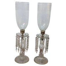 19th C Crystal Candlesticks with etched Glass Hurricanes