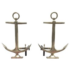 Vintage Brass Anchor Andirons