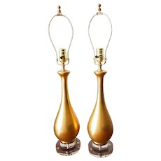 Pair of Mid-Century Gilt Ceramic Lamps on Lucite Bases