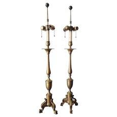 Vintage Brass Tripod Base Table Lamps