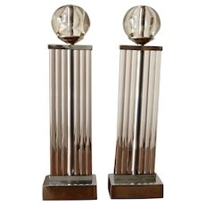 Art Deco Chrome and Glass Column Andirons
