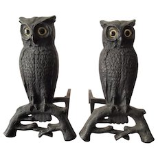 Pair of Owl Cast Iron Andirons