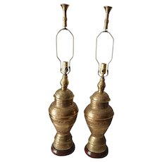 Pair of Anglo Indian Brass Lamps