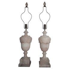 Pair of Paul Hanson Italian Alabaster Lamps