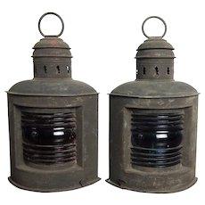 Pair of Antique Copper Nautical Lanterns