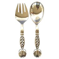 Georg Jensen Sterling Silver Pair Ornamental Servers No 83 Large