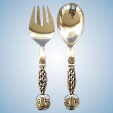 Vintage Georg Jensen Sterling Silver Pair Ornamental Servers No 83 Large