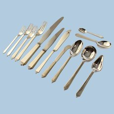 Georg Jensen Sterling Silver Complete Set of 12 In the ''Pyramid'' Pattern by Harald Nielsen