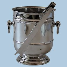 "Vintage Christofle France Silver Plated ""Perle"" Ice Bucket with Tongs"