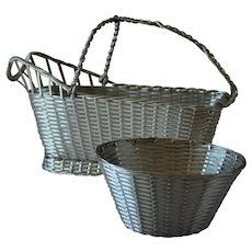 "Vintage Christofle France Silver Plated ""Perle"" Woven Bon-Bon Basket"