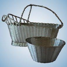 "Vintage Christofle France Silver Plated ""Perle"" Woven Bon-Bon Basket"