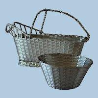 """Vintage Christofle France Silver Plated """"Perle"""" Wine Basket"""