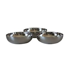 Vintage Christofle France Silver Plated Set of 3 Modern Bowls.