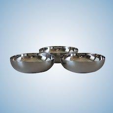 Vintage Christofle France Silver Plated Set of 3 Modern Bowls.