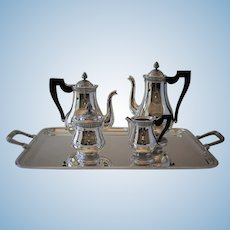 """Christofle France """"Perle"""" Silver Plated Complete Coffee & Tea Service"""