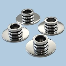 Georg Jensen Sterling Silver Pyramid Candle Holders, No.747 A by Harald Nielsen, set of four