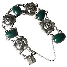 "Georg Jensen 830 Silver ""Blossom"" Bracelet No. 12 with Green Chrysoprase"