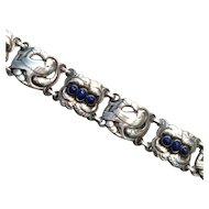 "Georg Jensen Sterling Silver ""Bird"" Bracelet with Lapis Lazuli No. 14"