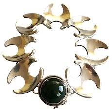 Georg Jensen Sterling Silver Bracelet With Jadeite Cabochon No. 130 by Henning Koppel