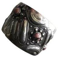 Unique Repousse 900 Silver Cuff with Rhodonite Cabochons Circa 1920's