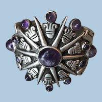 William Spratling Sterling Silver Aztec Sun Cuff with Amethyst