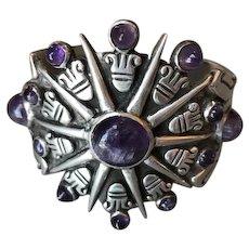 William Spratling Sterling Silver Aztec Sun Cuff with Amethyst