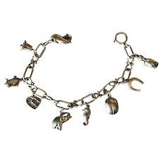 "Georg Jensen Sterling Silver ""Charm"" Bracelet No. 80 ( 9 charms)"