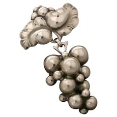 "Georg Jensen Sterling Silver Large ""Grape"" Brooch No. 217B by Harald Nielsen"