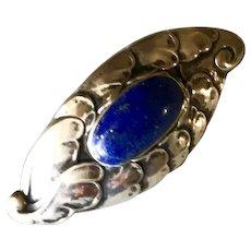 Georg Jensen 830 Silver Brooch No.168 With Lapis Lazuli
