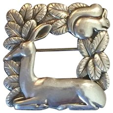 Georg Jensen Sterling Silver Deer and Squirrel Brooch No. 318 by Arno Malinowski