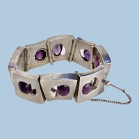 Antonio Pineda Silver and Amethyst Bracelet