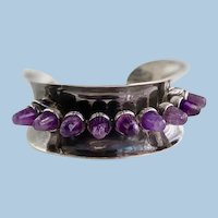 Antonio Pineda Silver and Amethyst Cuff Bracelet