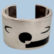 Antonio Pineda Silver and Obsidian Abstract Cuff Bracelet