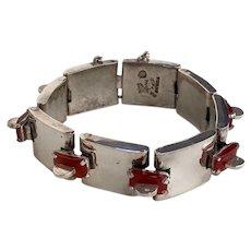 Antonio Pineda Silver and Carnelian Bracelet